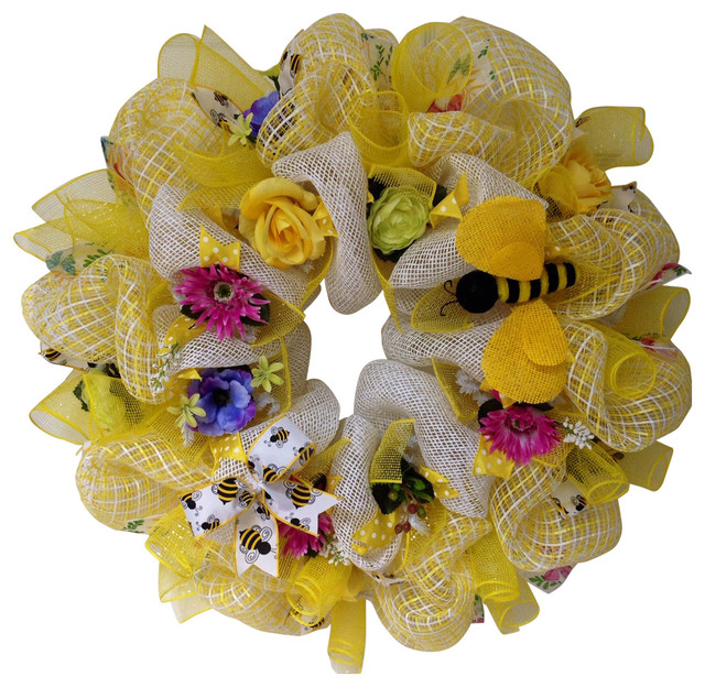 Bumble Bee Floral Spring Summer Deco Mesh Wreath Contemporary Wreaths And Garlands