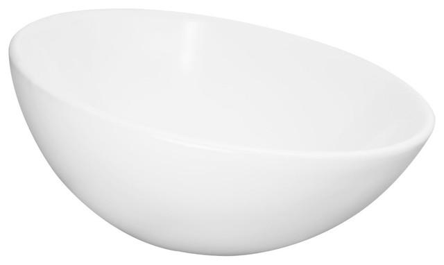 Verden Round Sloped Ceramic Vessel Sink, White