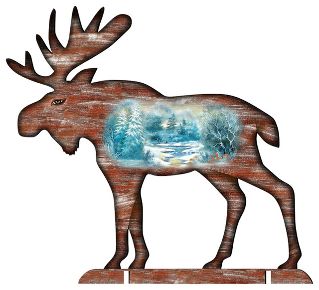 Woodsy Moose Scenic 32 Free Standing Garden Decor