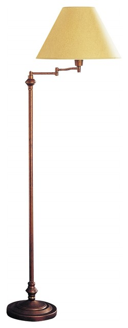 Cal Lighting 3-Way Swing Arm Floor Lamp, Rust.