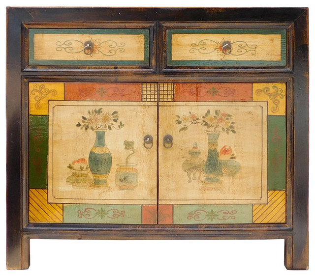 Chinese Flower Vase Graphic Orange Green Side Table Cabinet ...