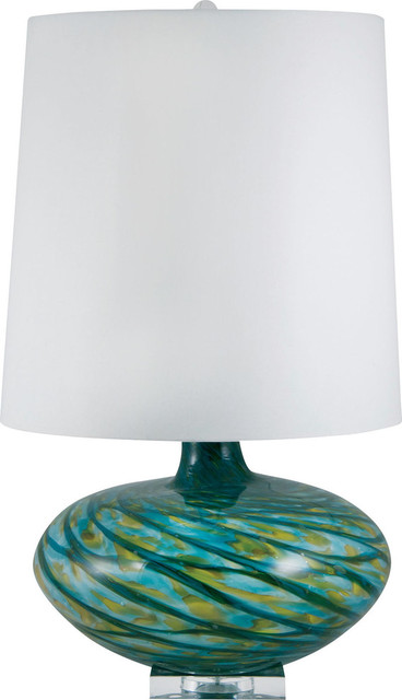 bang blown glass table lamp blue swirl e26 contemporary table lamps. Black Bedroom Furniture Sets. Home Design Ideas