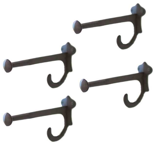 4 BROWN ANTIQUE-STYLE CAST IRON VICTORIAN STYLE WALL HOOKS rustic home decor hat