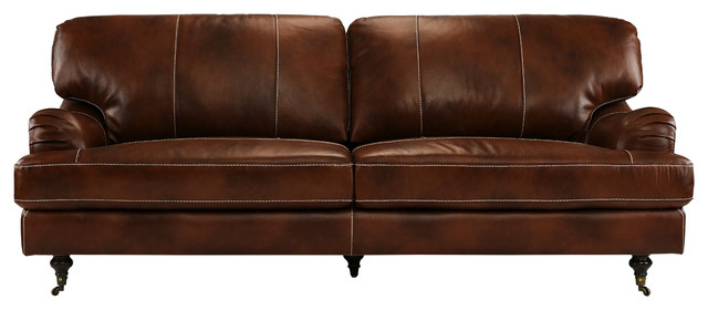 Classic Real Leather Sofa Couch Low Frame Design