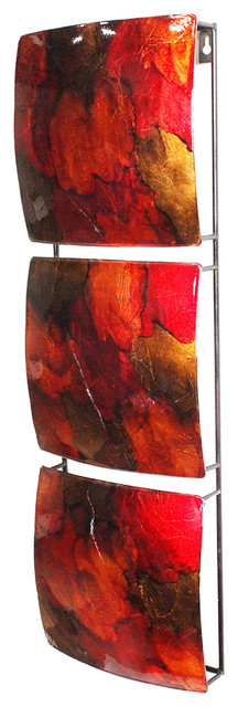 Naomi Vertical 3-Panel Metal Wall Decor, Copper, Red And Gold.
