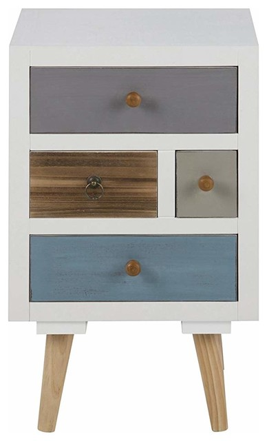 Modern Bedside Table With Pine Legs and Multicoloured Drawers, 11 Drawers
