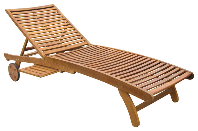 Acacia Chaise Lounge With Tray, Rustic Brown Beach Style Outdoor Chaise