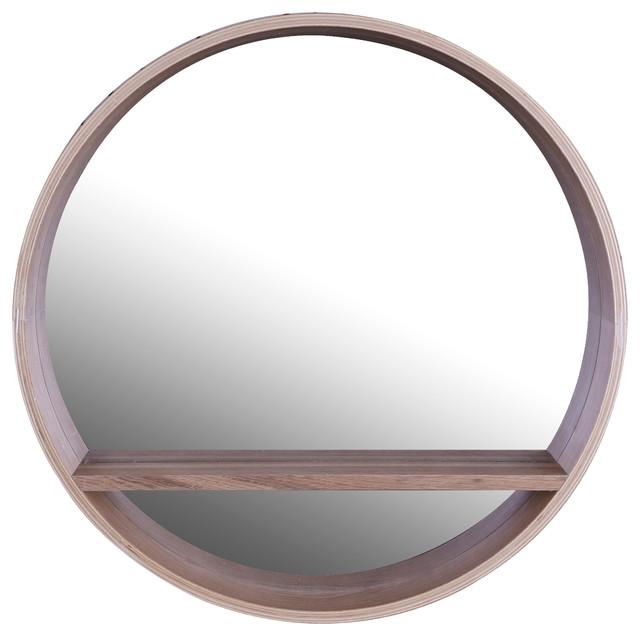 "Circle  Wooden Shelf Mirror, 20""x4""."