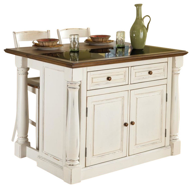 Monarch Antiqued White Kitchen Island and 2 Stools - Farmhouse ...