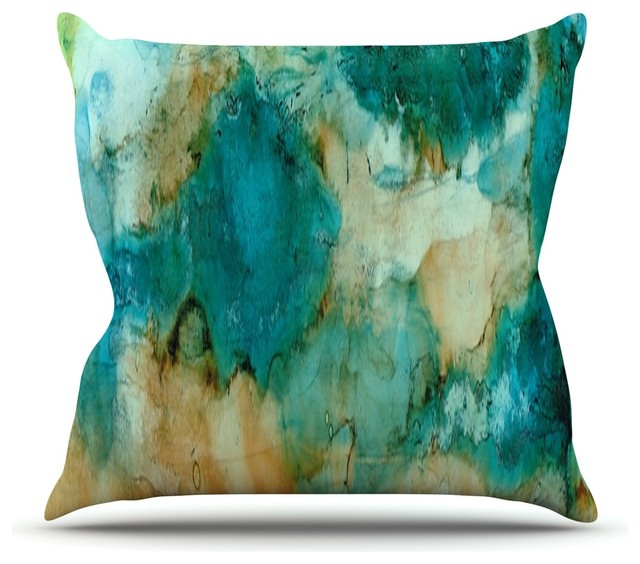 rosie brown waterfall teal blue throw pillow 16x16 contemporary - Blue Decorative Pillows
