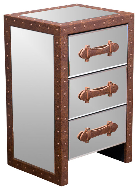 Mirrored Bedside Table With Drawers: Adeline Mirrored Bonded Leather Accent 3-Drawer Nightstand