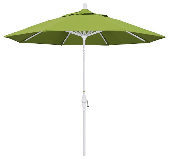 9&x27; Aluminum Umbrella With Collar Tilt, Matte White, Sunbrella, Macaw.