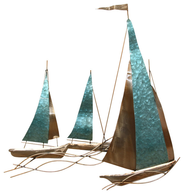 Stratton Home Decor Sailboat Wall Decor - Beach Style - Metal Wall ...
