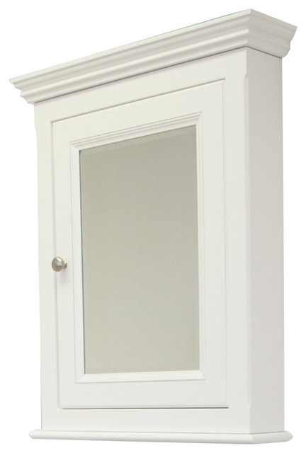 "Traditional Birch Wood-Veneer Medicine Cabinet, White, 22.5""x30""."