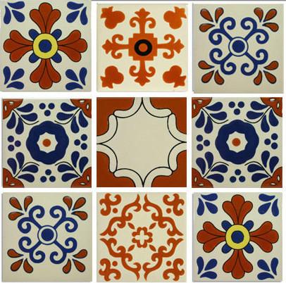 Classic Ceramic Mexican Tile Design 9 Piece