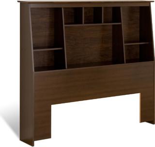 Espresso Full/Queen Tall Slant-Back Bookcase Headboard, ESH-6656