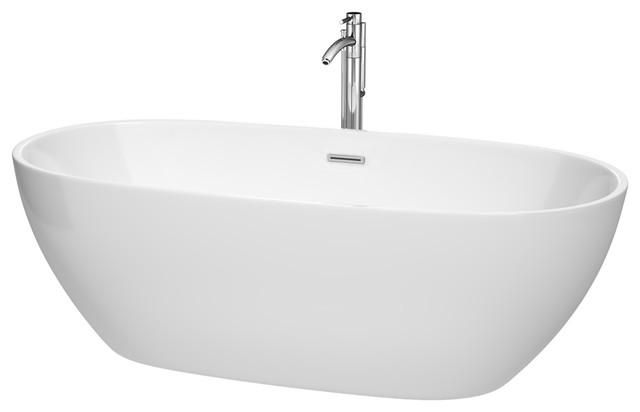 "Freestanding Bathtub, Drain, Overflow Trim, Polished Chrome Faucet, White, 71""."