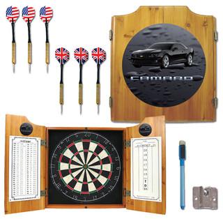 Black Camaro Dart Cabinet Includes Darts and Board - Darts And Dartboards - by Peazz