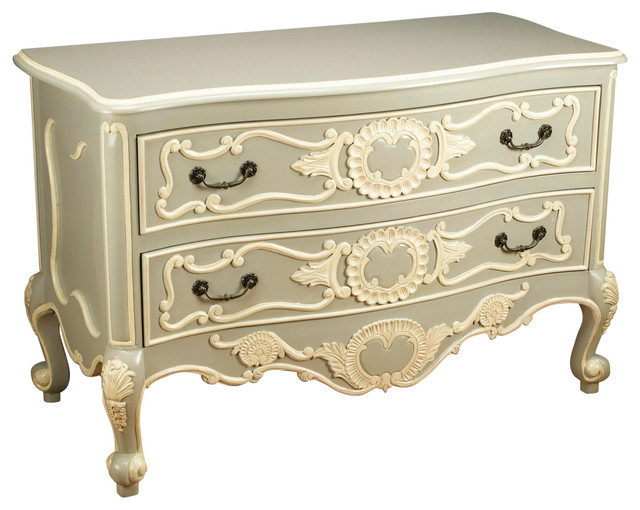 Sage Green And Cream 2-Drawer Chest.
