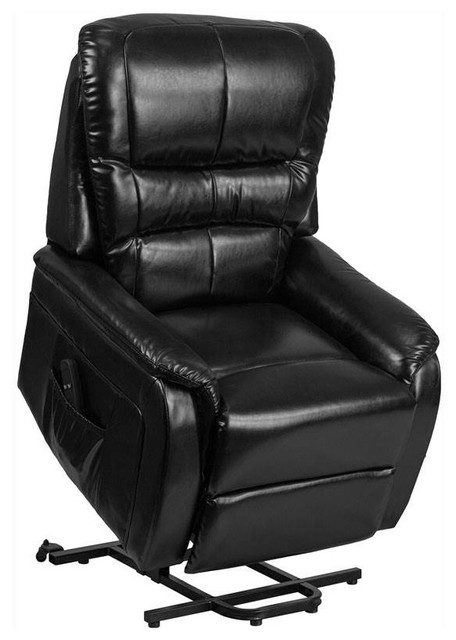 Remote Powered Lift Recliner Black Contemporary Lift