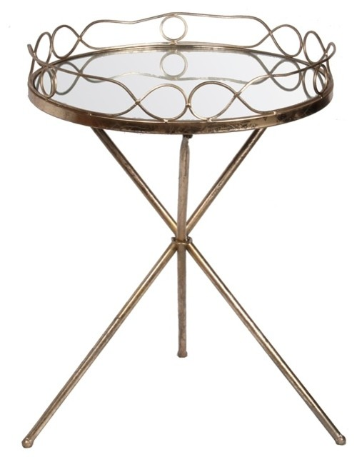 Captivating Iron And Glass Standing Tray Table, Gold Leaf Contemporary Tv Trays