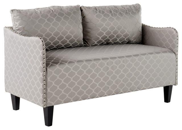 palmer studded frame fabric loveseat gray pattern