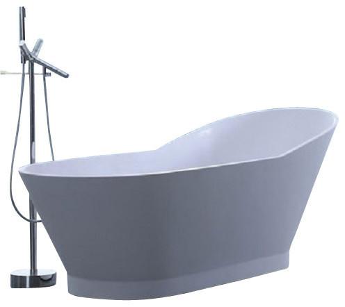 "Adm Slippered Freestanding Bathtub, Glossy White, 66.1""."