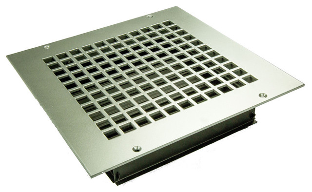 Square Solid Steel Supply Vent, Silver, 9x9 Supply.