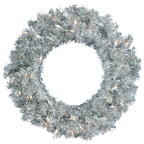 Pre Lit Sparkling Silver Tinsel Artificial Christmas Wreath Clear Lights 36