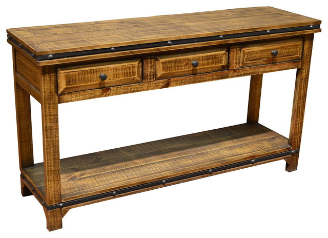Addison Rustic Pine Wood Sofa Table Console With 3 Drawers