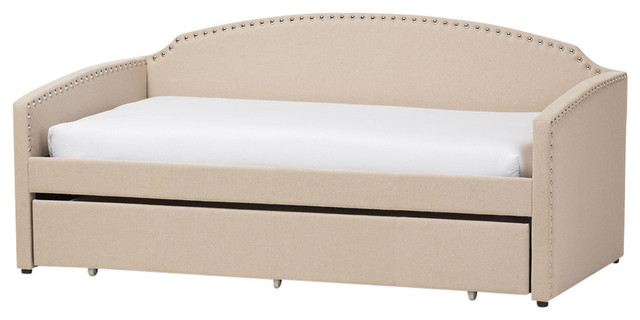 Lanny Linen Nail Heads Arched Back Sofa Twin Daybed With Trundle Bed, Beige.