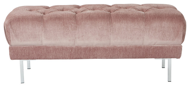 Addie Tufted Bench In Rose Fabric With Chrome Legs.