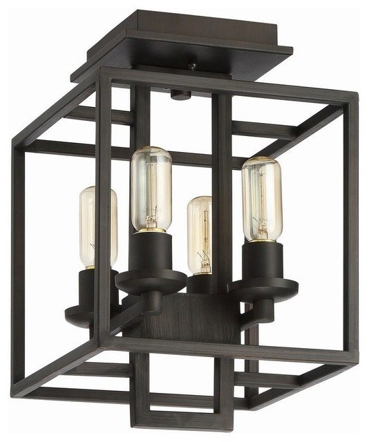 Craftmade Cubic 4-Light Semi Flush, Aged Bronze Brushed.