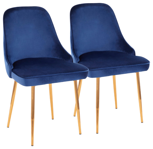 LumiSource Marcel  Dining Chair, Gold Frame and Blue Velvet, Set of 2