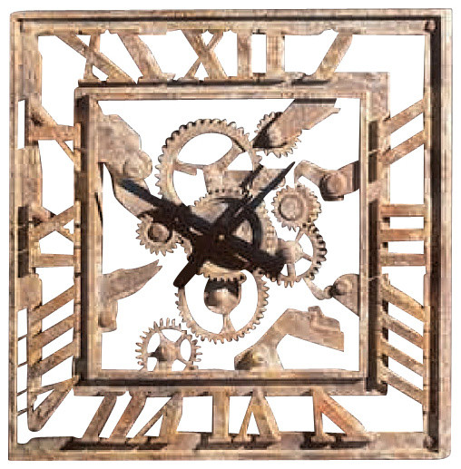Gear Wall Decor square gear wall clock - industrial - wall clocks -factory