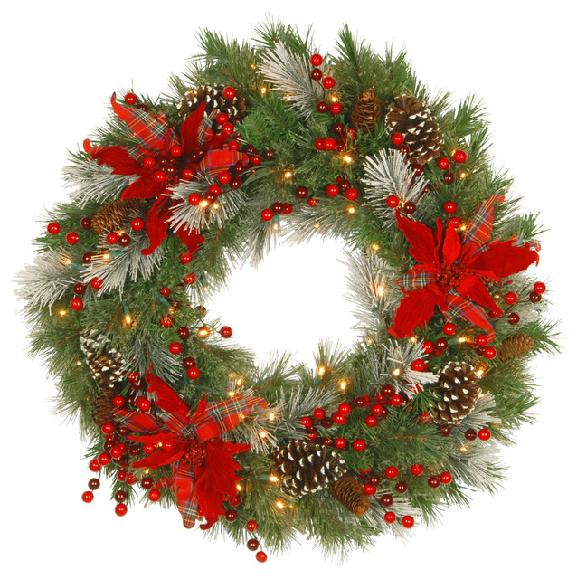 """Tartan Plaid Wreath With Battery Operated Warm White Led Lights, 30""""."""