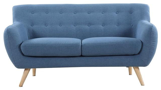 Linen Upholstered Modern Mid-Century Style Sofa Loveseat, Blue.