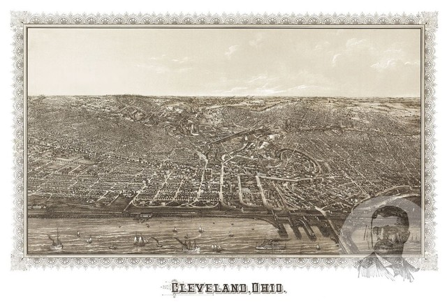 Old Map of Cleveland Ohio 1887, Vintage Map Art Print, 12