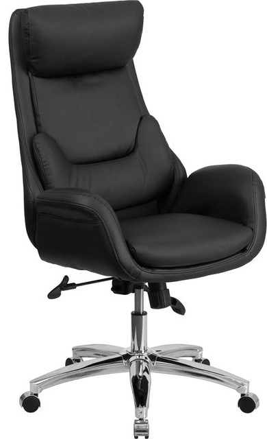 Silkeborg High-Back Black Leather Swivel Chair With Lumbar Pillow & Arms.
