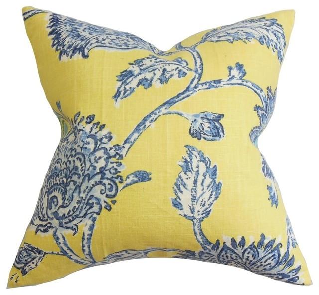 "Behati Floral Pillow Blue Yellow, 22""x22""."
