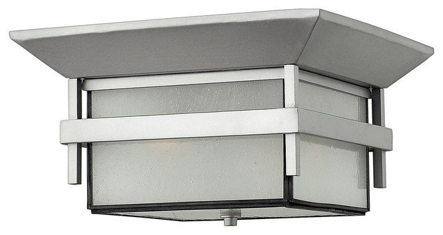 Hinkley Lighting 2 Light Outdoor Flush Mount Shown In Titanium Finish.