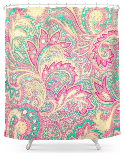 Society6 Pink Turquoise Girly Chic Floral Paisley Pattern Shower Curtain  Mediterranean Shower Curtains