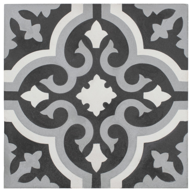 "7.88""x7.88"" Cement Floor and Wall Tile, Luna, Cavado"