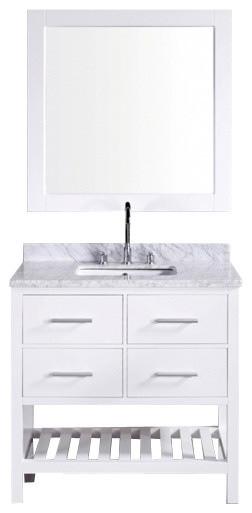 """36.5"""" Modern Single Sink Bathroom Vanity, Pure White, 36.5"""" Single Sink."""