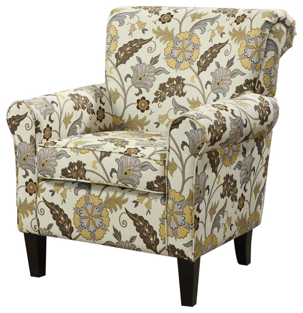 retro-styled floral accent chair with decorative rolled arms