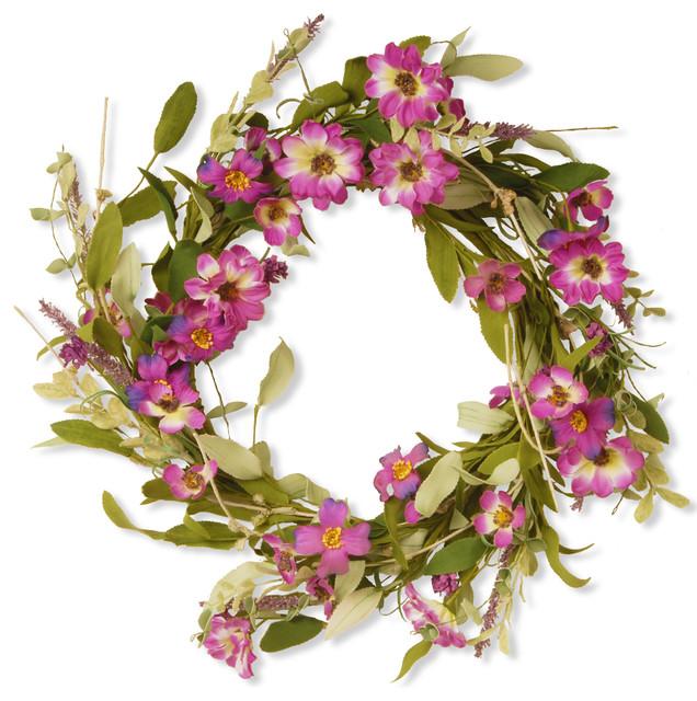 "20"" Garden Accents Purple Daisy Wreath"