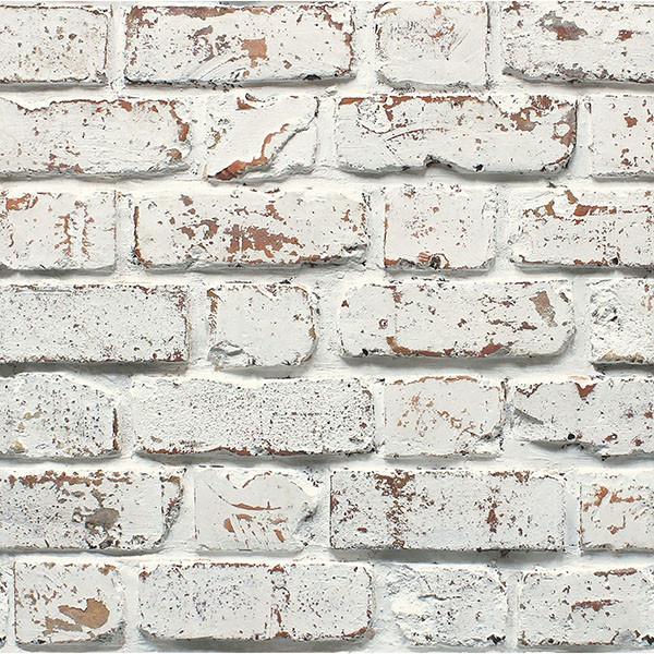 White Rustic Brick Wallpaper Farmhouse Wallpaper By