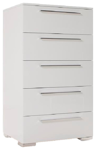 Bilbao High Gloss White Lacquer 5 Drawer Chest Contemporary Dressers By Kinwai