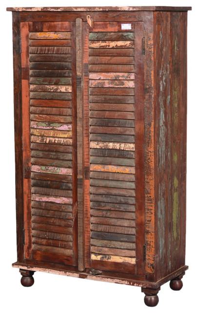 Painted Shutter Doors Reclaimed Wood Wardrobe Armoire Cabinet