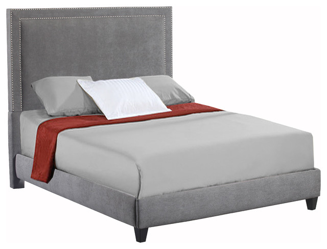 Abbot Upholstered Bed, Gray And Silver, King.